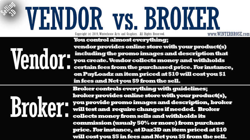 VENDOR vs. BROKER. For Vendor, You control almost everything, vendor provides online store with your product(s) including the promo images and description that you create. Vendor collects money and withholds certain fees from the purchased price. For instance, on PayLoadz an item priced at $10 will cost you $1 in fees and Net you $9 from the sell. For Broker, Broker controls everything with guidelines; broker provides online store with your product(s), you provide promo images and description, broker will test and  require changes if needed. Broker collects money from sells and withholds its commission (usualy 50% or more) from purchase price.  For instance,  at Daz3D an item priced at $10 will cost you $5 in fees and Net you $5 from the sell.