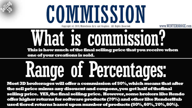 COMMISSION. What is commission? This is how much of the final selling price that you receive when one of your creations is sold. Range of Percentages, Most 3D brokerages will offer a commission of 50%, which means that after the sell price minus any disoucnt and coupons, you get half of thefinal  selling price.   YES, the final selling price.  However, some brokers like Rendo offer higher returns for software products (70%) and other like RenderHub used tiered returns based upon number of products (50%, 60%, 70%, 80%).
