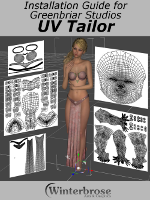 UV Tailor is a plugin for DAZ Studio 64 bit Windows that allows you to view and print the uvs for any model. This allows you to create new textures for existing models, matching them to the uv set used by that model. Plus it allows you to create textures for new models that you have created uvs for. It allows you to see how your uvs and textures will be affected by the subdivision process so you can make sure they will map correctly at the highest subdivision level. The main features are: - View / Print all models from early Poser models, all DAZ models - Victoria 1-4 up through current Genesis (3 at this point). For any model you can load into DAZ Studio, you can view the uvs. - View - Print all uv sets, not only the one currently in use by the loaded model, but all the sets available on the newer Genesis models - View - Print all Subdivision levels. Subdivision slightly changes uvs as they are smoothed in the Subdivision process. UV Tailor lets you check your textures against the generated high res uv maps. - View / Print with and without background image map. With the image, you can view exactly how the uvs match up against the image map currently in use. Without them, you have a template over which to create your own texture. - Correctly works with the new Genesis 3 non overlapping uv layouts. - Scriptable from DAZ Script so you can automate the selection of surfaces, uv sets, subdivision levels and export of uv images.  What's Included and Features  UV Tailor, View - Print all models from early Poser models, all DAZ models - Victoria 1-4 up through current Genesis (3 at this point). For any model you can load into DAZ Studio, you can view the uvs. View - Print all uv sets, not only the one currently in use by the loaded model, but all the sets available on the newer Genesis models. View - Print all Subdivision levels. Subdivision slightly changes uvs as they are smoothed in the Subdivision process. UV Tailor lets you check your textures against the generated high res uv maps. View - Print with and without background image map. With the image, you can view exactly how the uvs match up against the image map currently in use. Without them, you have a template over which to create your own texture. Correctly works with the new Genesis 3 non overlapping uv layouts. Scriptable from DAZ Script so you can automate the selection of surfaces, uv sets, subdivision levels and export of uv images. PDF Manual.