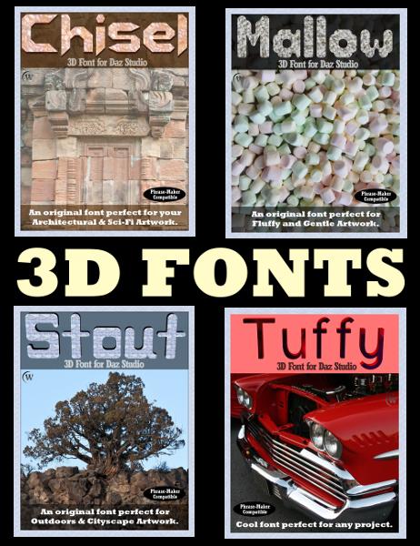 3D FONTS Pack 1 for Daz Studio 4