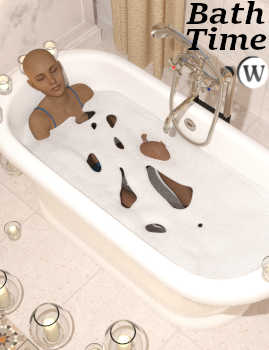 Bath Time Pose 01 for Genesis 8 Female (G8F) and STZ Bathroom. At one time or another, we all have needed to light the candles and take a relaxing bath. Whether to recover from a hard day at work, or a hectic day of children demanding our attention, sooner or later it happens. Pose 01 Relaxing Bath was designed just for that purpose to complete your STZ Bathroom scene with the Genesis 8 Female relaxing in a comfortable and bubbly tub full of warm water.