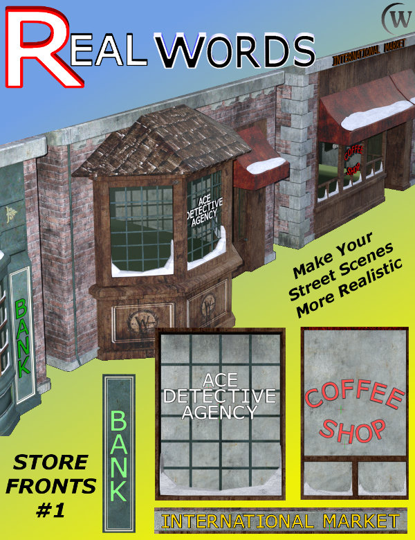 REALWORDS Business Store Fronts can make your street scenes in Daz Studio look more realistic by adding buisness names to your buildings and structures.