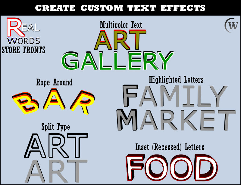 With REAL WORDS, you can create many different customized effects using scaling and color.  Quickly create multicolor text, rope around text, highlighted letters in text, split type text, or inset (recessed) letters in text.