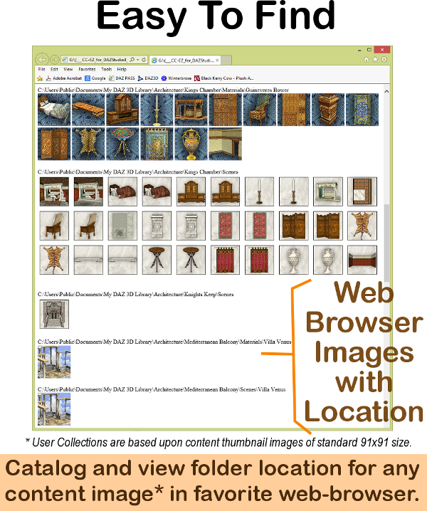 CCEZ creates web-based HTML pages for your collection of assets that is easily used by most popular browsers