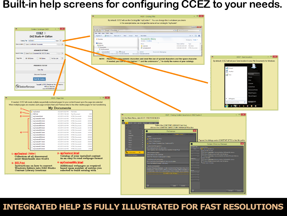 No need to remember everything; CCEZ includes an extensive fully illustrated set of help screens.