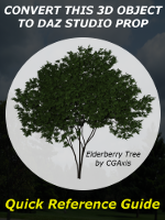 CGAxis Elderberry Tree, download and convert the Wavefront OBJ version of the free CGAxis Elderberry Tree model into a usable Daz Studio prop that will appear in your Content Library. This quick reference guide will demonstrate the techniques needed to convert the model yourself.
