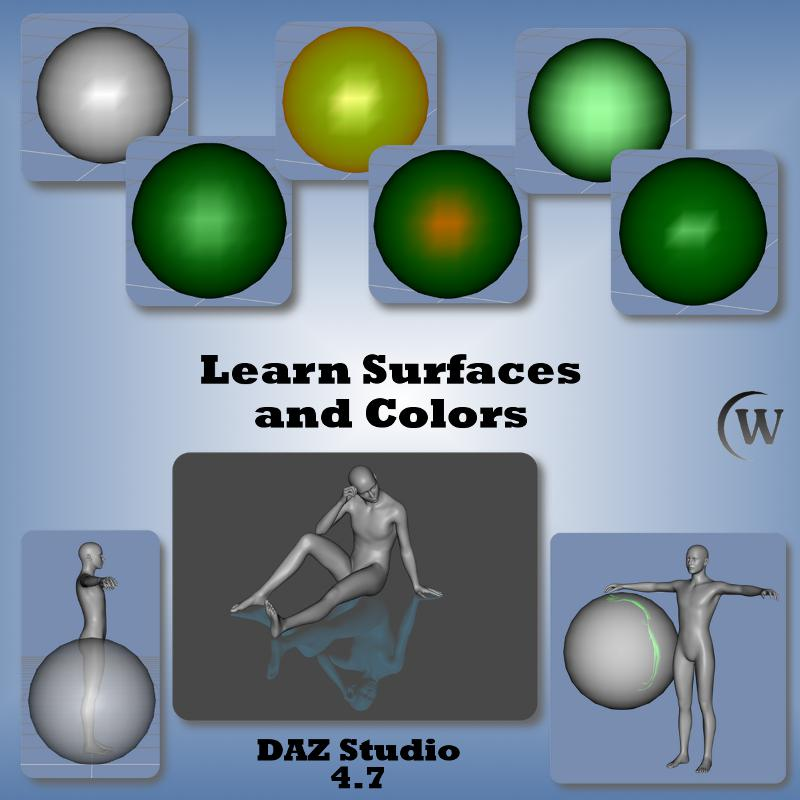 Surfaces and Colors, Surface and Color Terms, Diffuse, Ambient, Specular, Glossiness, Reflection, Refraction, BASIC SURFACES and COLORS, Color Dialog, Primitive Shapes, Surfaces (Color), Diffuse Color, Specular Color, Glossiness, Ambient Color, Reflection Color, Refraction Color, ADVANCED SURFACES