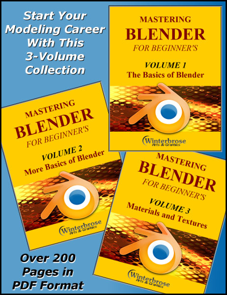 MASTERING BLENDER FOR EVERYONE USING ONLY BLENDER: Have you always wanted to create 3D models but didn't have the time or money to get started?  Your wait is over!  With this tutorial and the awesome yet freely available Blender modeler, you can get started in no time at all.  Don't spend big dollars just to discover that 3D modeling isn't for you.  Start with this beginner's guide and see if you really like modeling.  If you do, then continue your journey with other modeling tutorials or venture into other areas like posing or animations. This 218-page fully illustrated tutorial provided free online and in standard PDF format is the beginner's guide to Blender.  It shows you how to install, customize and use Blender to begin creating your own 3D models. It covers the techniques to get you started and ease the learning curve for 3D modeling along with training on how to Import/Export objects between Blender and other applications using standard OBJ format.  It also includes DAZ Studio specific import/export instructions.  Kick start your career or hobby using this complete guide.