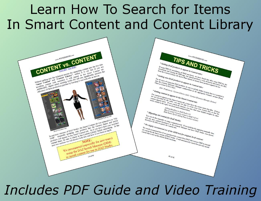 Learn how to search for items in smart content and content library with this pdf, mp4 and wmv package for DAZ Studio