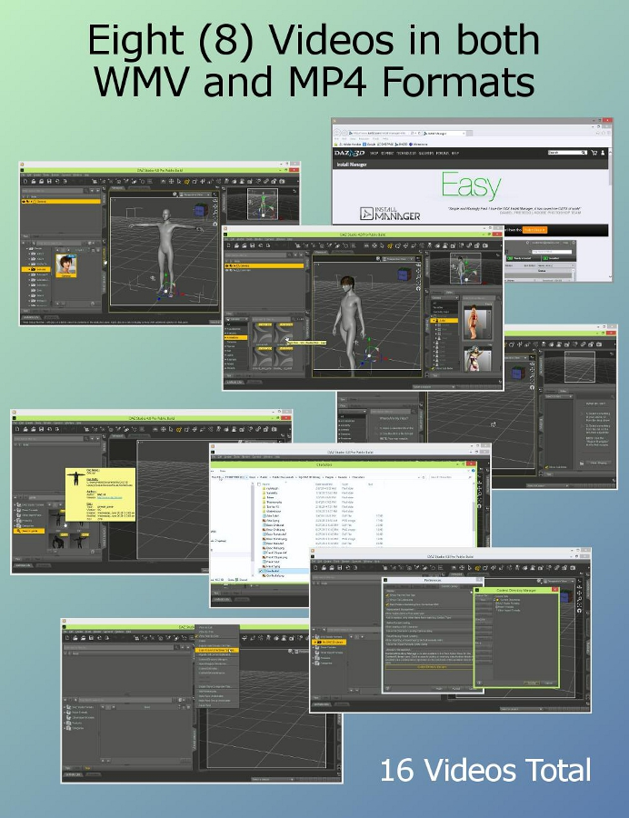 PDF is accompanied by eight (8) videos in MP4 / WMV formats demonstrating with DAZ Studio 4.8 (DS48) all of the instructions you need to find your installed content.